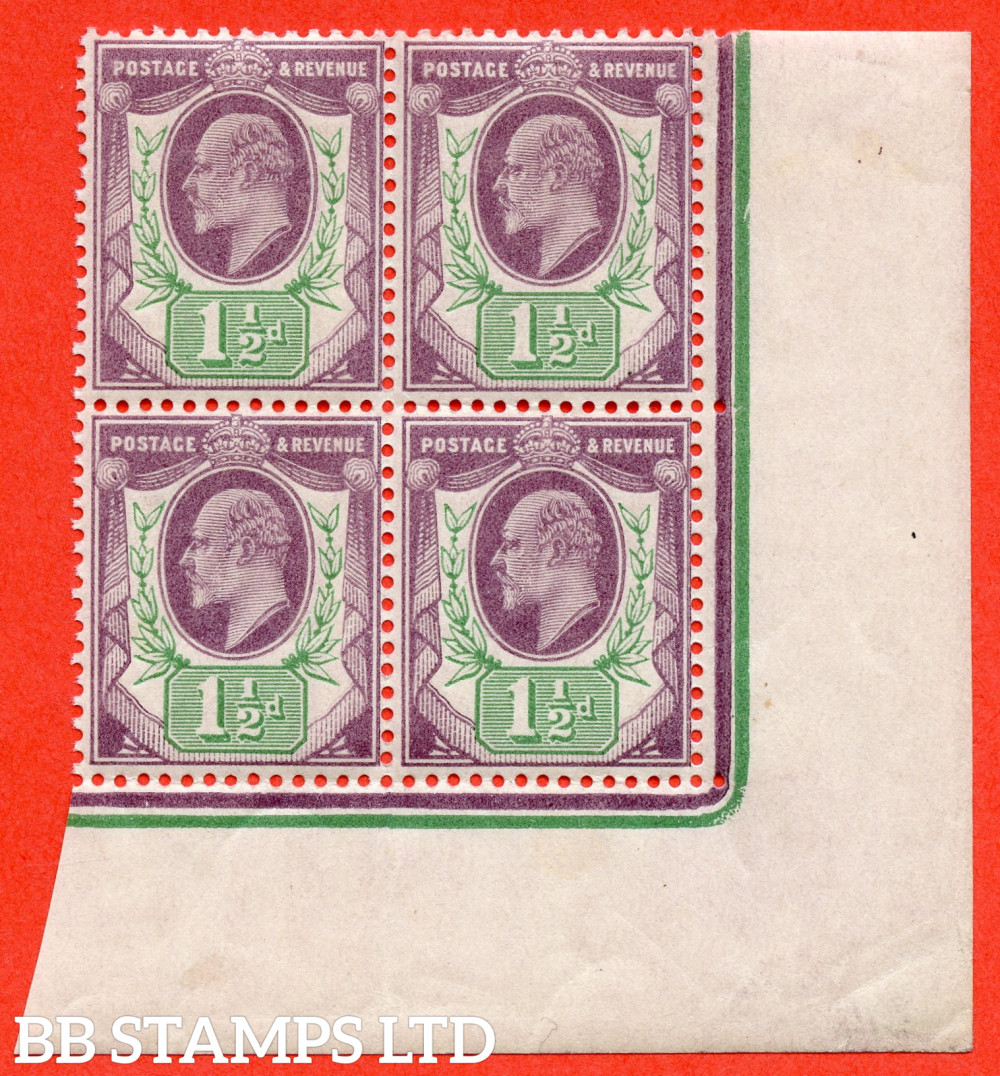 SG. 221. M8 (1). 1½d Dull Purple & Green. A very fine UNMOUNTED MINT( mounted in the margin only ) bottom right hand corner marginal block of 4.