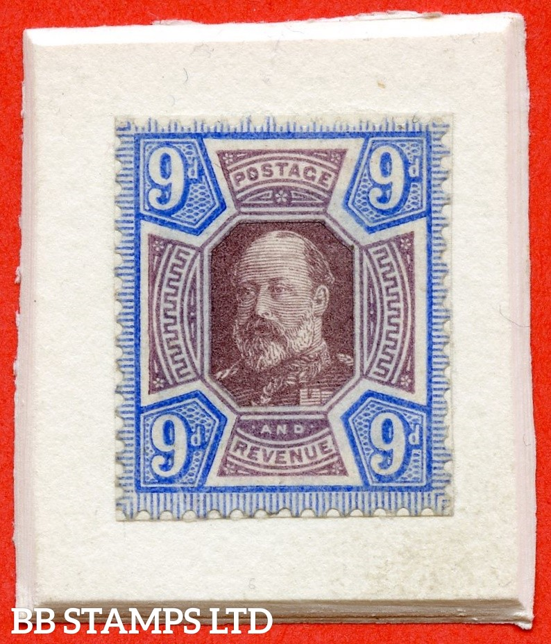 SG. 250 variety. 1901 PASTE UP ESSAY of the Victorian Jubilee Issue with head of KEVII substituted, series A (three quarter face likeness) 9d, mounted on thick card. Very rare. RPS certificate.SG Spec cat £11,000.