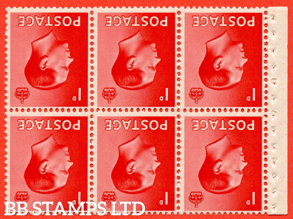 SG. 458aw. PB2a. 1d Red. INVERTED WATERMARK. A fine UNMOUNTED MINT booklet pane of 6. Perf type ' I'. Good perfs.