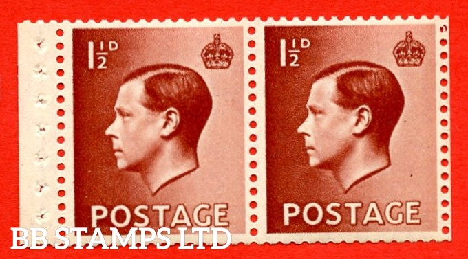 SG. 459c. PB4  1½d Red - Brown.  A fine UNMOUNTED MINT booklet pane of 2. Perf type ' P '. Good Perfs.