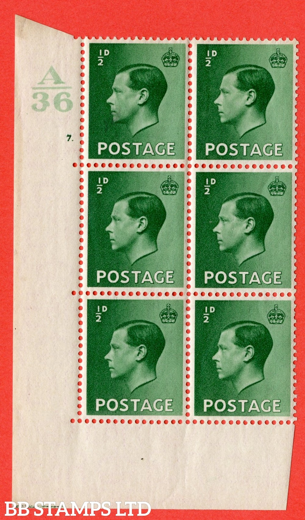 "SG. 457. P1 b. ½d Green. A superb UNMOUNTED MINT. "" Control  A36 cylinder 7 dot "" control block of 6 with perf type 5 E/I with listed variety "" Pearl beside crown "" Row 20/2."