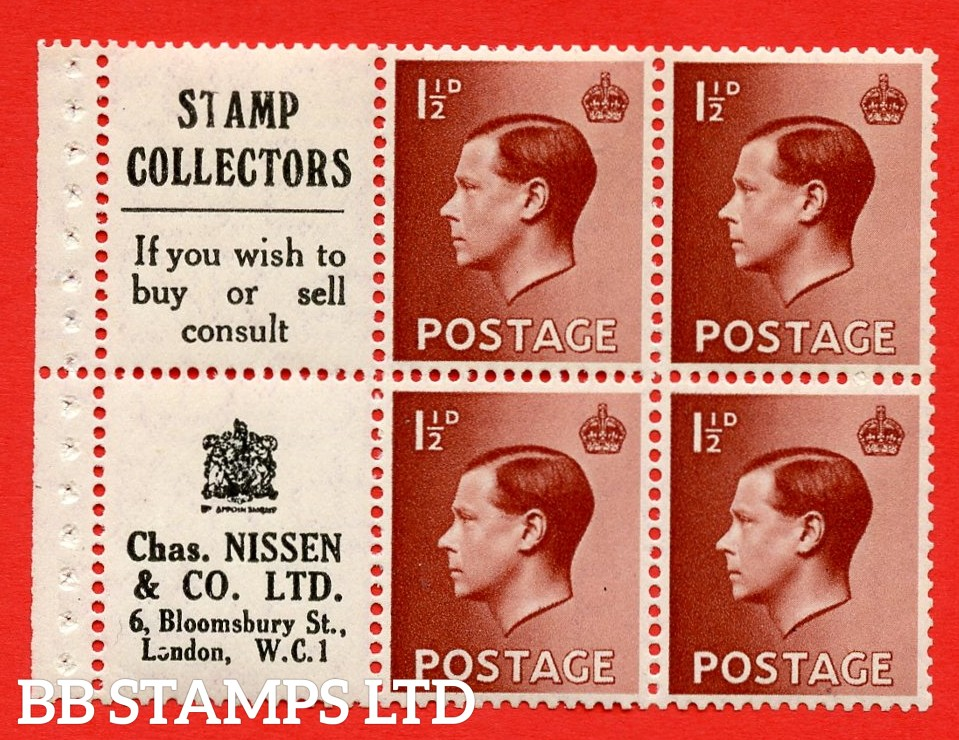 """SG. 459aw. PB5 ( 13 ) 1½d Red - Brown. A fine UNMOUNTED MINT booklet pane of 6. Perf type ' P ' ( 13 ) """" Stamp Collectors / Chas Nissen """" pane. (edition number 354). Good Perfs."""