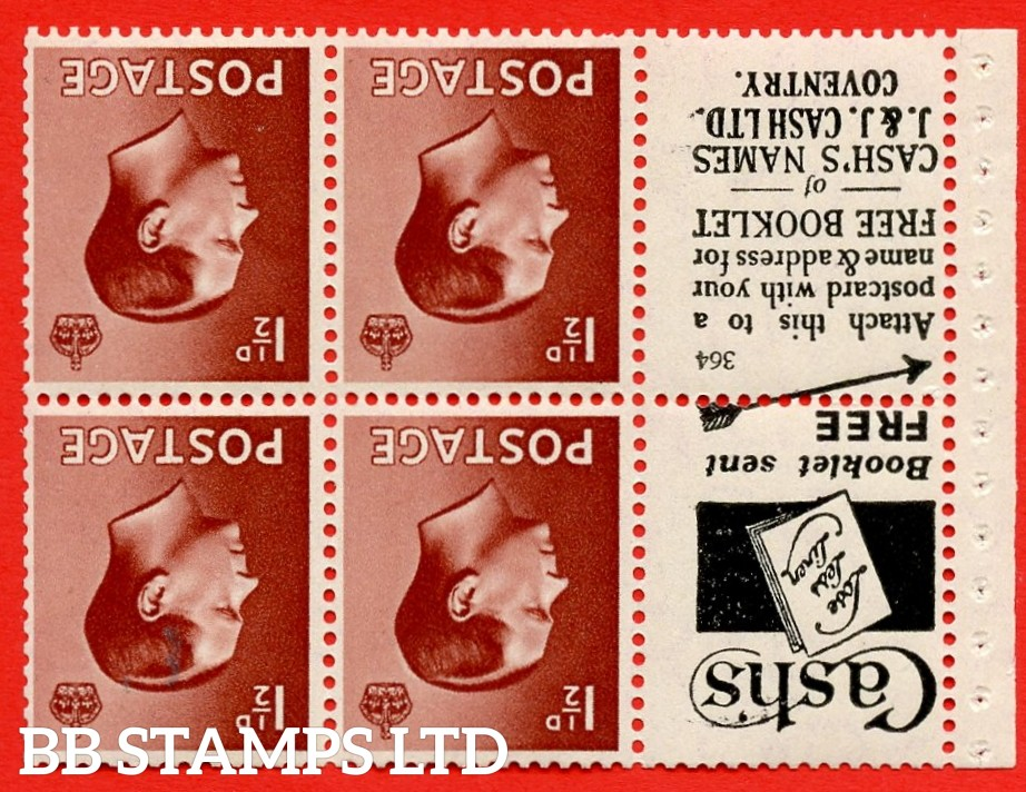 """SG. 459aw. PB5a (1). 1½d Brown. INVERTED WATERMARK. A fine Unmounted MINT booklet pane of 6. Perf type ' I'. Trimmed perfs. """"cash's"""" Lose Less Linen"""" book/free Booklet.J.&j. Cash"""" (numbered 364)"""