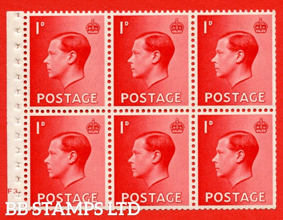 SG. 458 a. PB2. 1d Red. A fine UNMOUNTED MINT booklet pane of 6. Cylinder F3 dot  Perf type ' B4A(I) '. Good perfs.