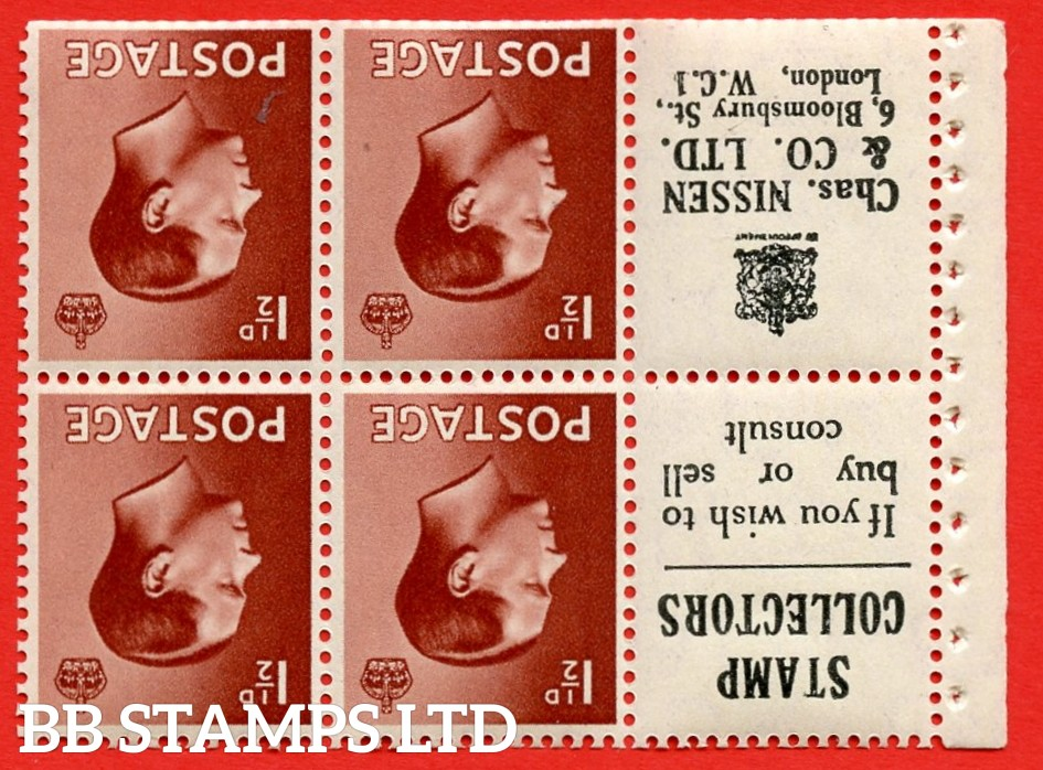 """SG. 459a. PB5a ( 13 ) 1½d Red - Brown.INVERTED WATERMARK. A fine UNMOUNTED MINT booklet pane of 6. Perf type ' I ' ( 13 ) """" Stamp Collectors / Chas Nissen """" pane. (edition number 354). Trimmed Perfs."""
