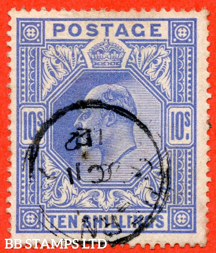 "SG. 319. Variety M54 (3). 10/- Deep Blue. A fine "" 11 October 1912 GUERNSEY "" CDS used example."