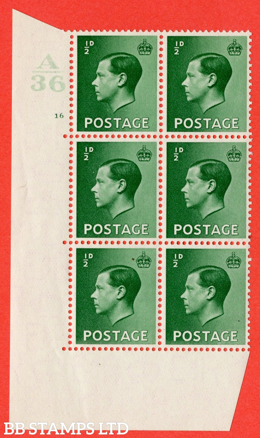 "SG. 457. P1. ½d Green. A superb UNMOUNTED MINT. "" Control  A36 cylinder 16 no dot "" control block of 6 with perf type 5 E/I."