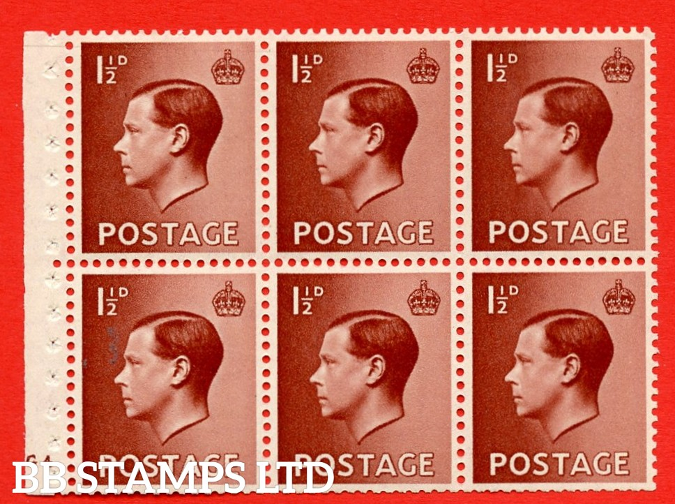 SG. 459 b. PB3. 1½d Brown. A fine MOUNTED MINT booklet pane of 6. Cylinder G4 no dot  Perf type ' B4(E) '. Trimmed perfs.