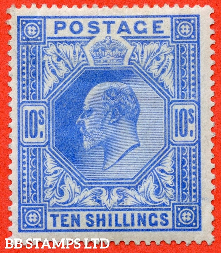 SG. 265. Variety M53 (2) 10/- Deep Ultramarine. A fine mounted mint example of this scarce Edwardian shade variety.