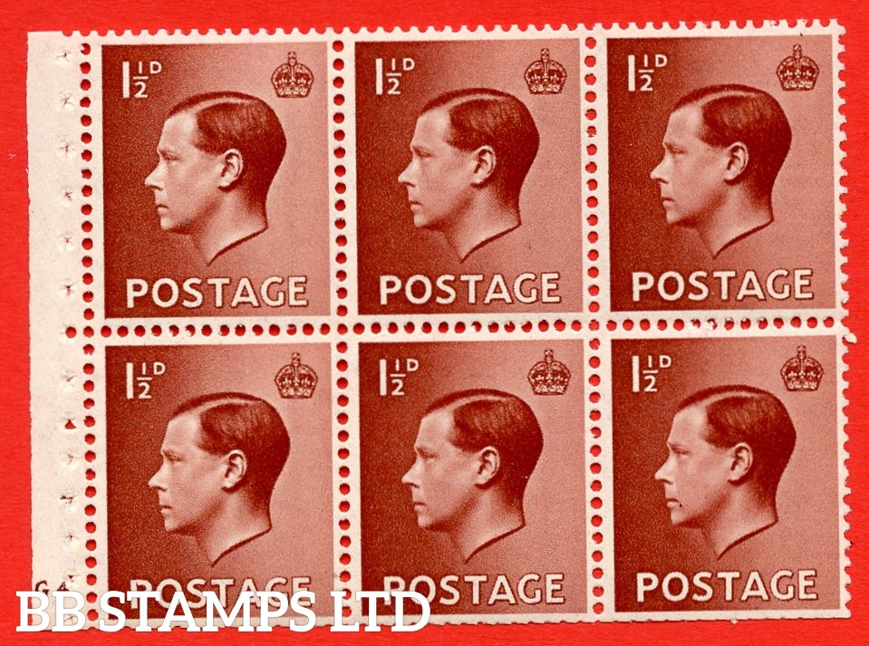 SG. 459 b. PB3. 1½d Brown. A fine UNMOUNTED MINT booklet pane of 6. Cylinder G4 no dot  Perf type ' B4(E) '. Trimmed perfs.