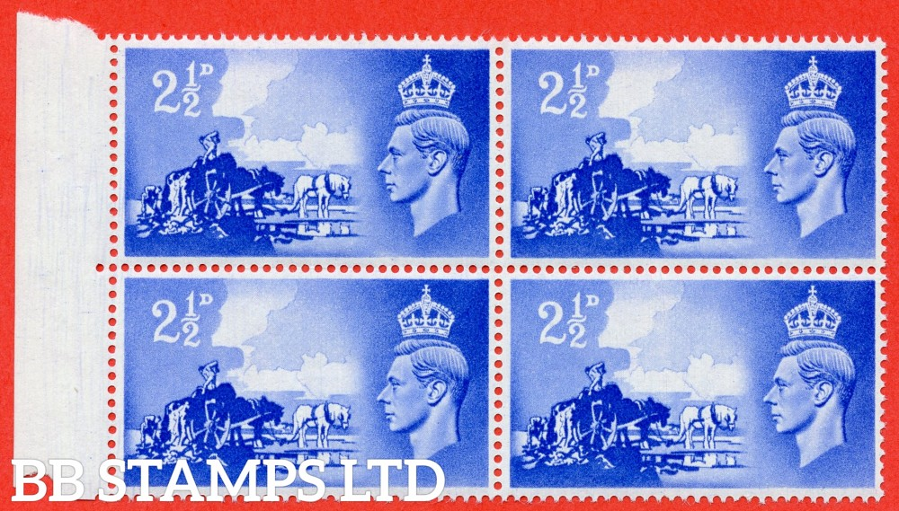 "SG. C2. QCom13 b. 2½d ultramarine. A fine UNMOUNTED MINT left hand marginal block of 4 with the top left hand stamp clearly showing the listed "" Line Across Wheel ( Row 6/1 ) "" variety."
