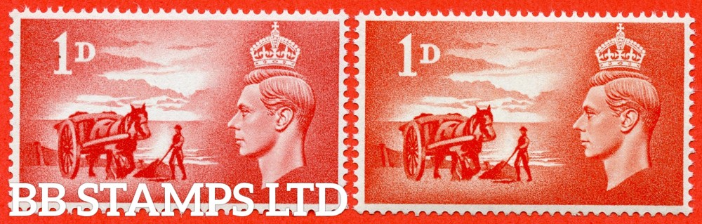 SG. C1. QCom12 (2). 1d ROSE RED.  A super UNMOUNTED MINT example of this scarce stamp. With normal for comparison.