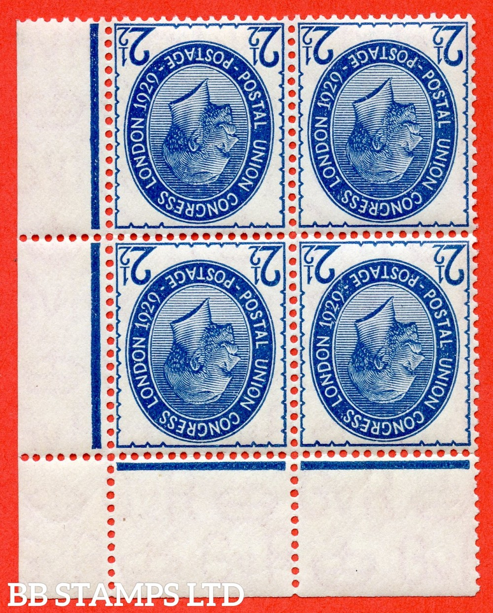 SG. 437wi. NCom8 (1) a. 2½d Blue. INVERTED WATERMARK. A Superb UNMOUNTED MINT top right hand corner margina; block of 4 of this very scarce George V variety. A RARE multiple these days.