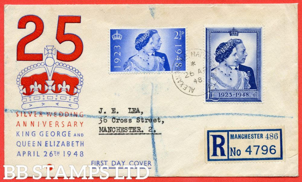 """SG. 493/494. QCom10 - 11. 2½d Ultramarine and £1.00 Blue. A fine FIRST DAY COVER cancelled by a fine """" 26th April 1948 MANCHESTER """" CDS."""