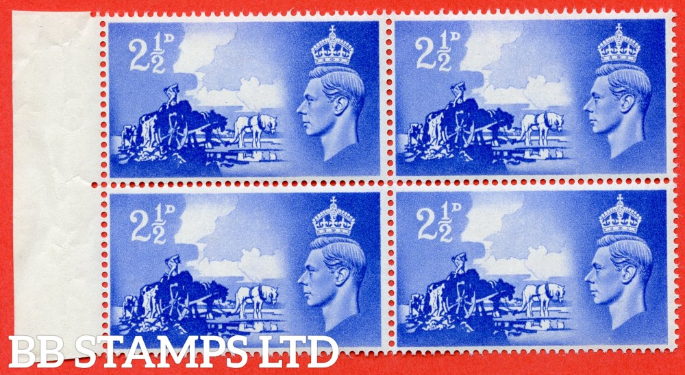 "SG. C2. QCom13 b. 2½d ultramarine. A fine UNMOUNTED MINT left hand marginal block of 4 with the bottom left hand stamp clearly showing the listed "" Line Across Wheel ( Row 6/1 ) "" variety."