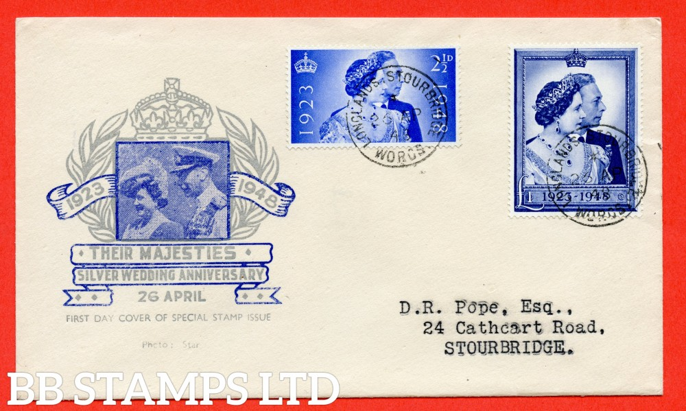 "SG. 493/494. QCom10 - 11. 2½d Ultramarine and £1.00 blue. A superb FIRST DAY COVER cancelled by a fine "" 26th April 1948 LONGLANDS STOURBRIDGE "" CDS."