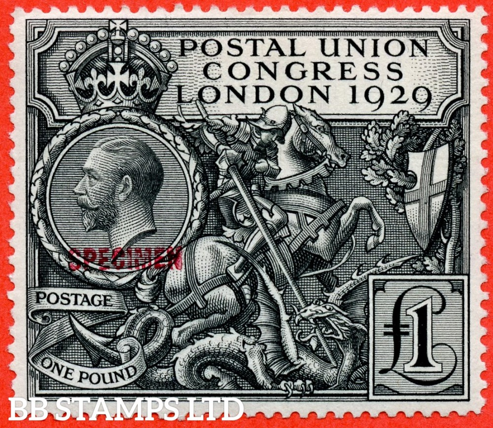 """SG. 438 s. NCom9 s. £1.00 Postal Union Congress. A superb lightly mounted mint example overprinted """" SPECIMEN """" Type 32 in red. A very scarce stamp this fine."""