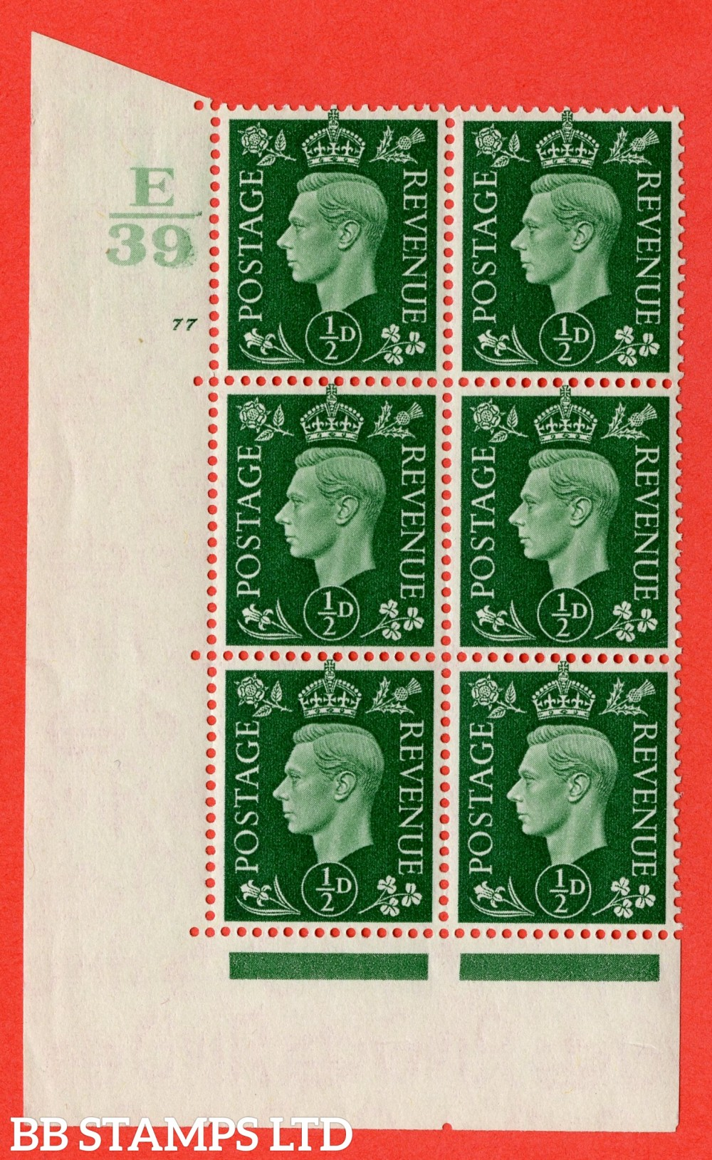 "SG. 462. Q1. ½d Green. A superb UNMOUNTED MINT "" Control E39 cylinder 77 no dot "" block of 6 with perf type 5 E/I with marginal rule."