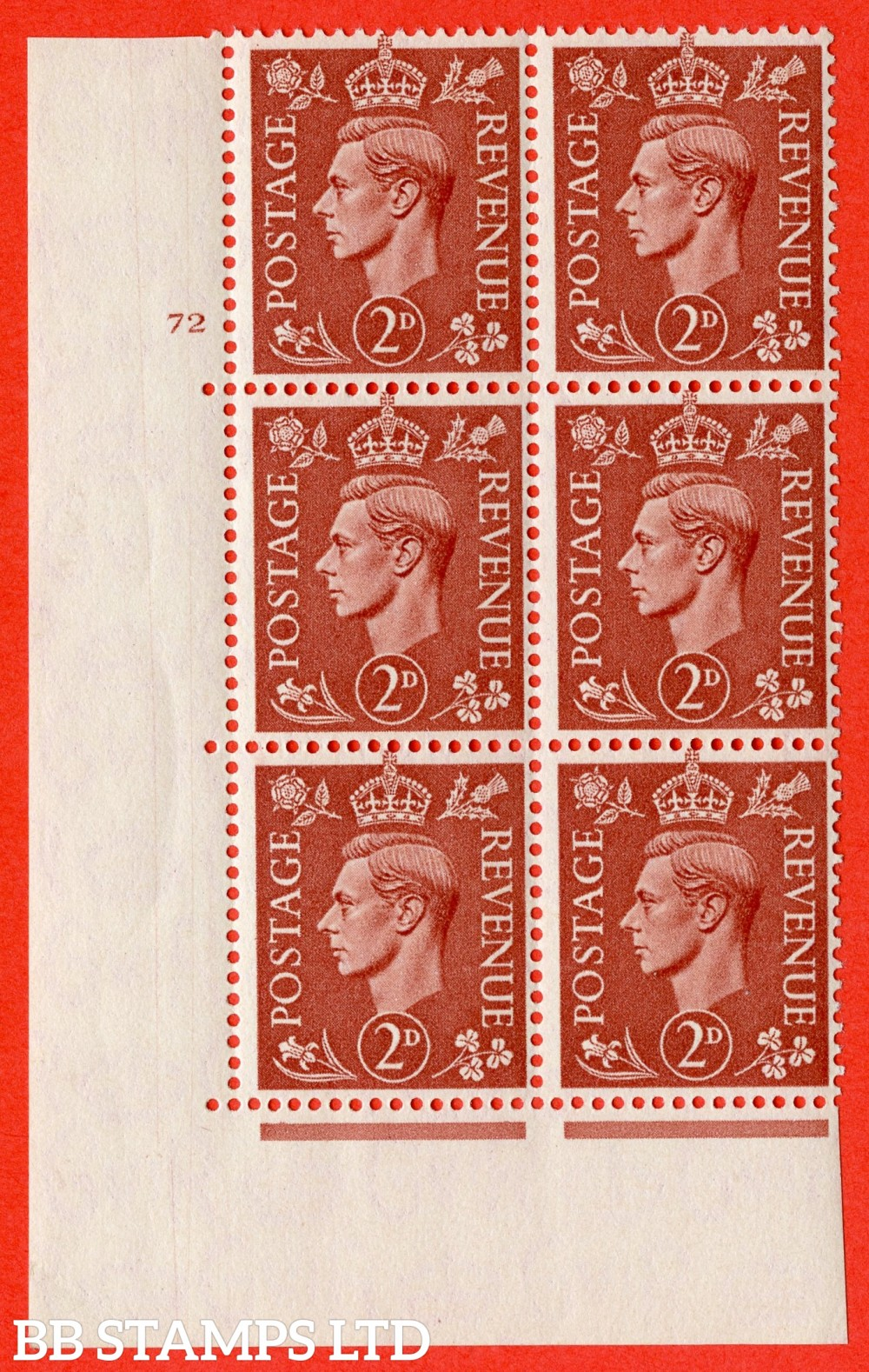 "SG. 506. Q12. 2d Pale Red-Brown. A superb UNMOUNTED MINT "" No Control cylinder 72 no dot "" control block of 6 with perf type 5 I/E."