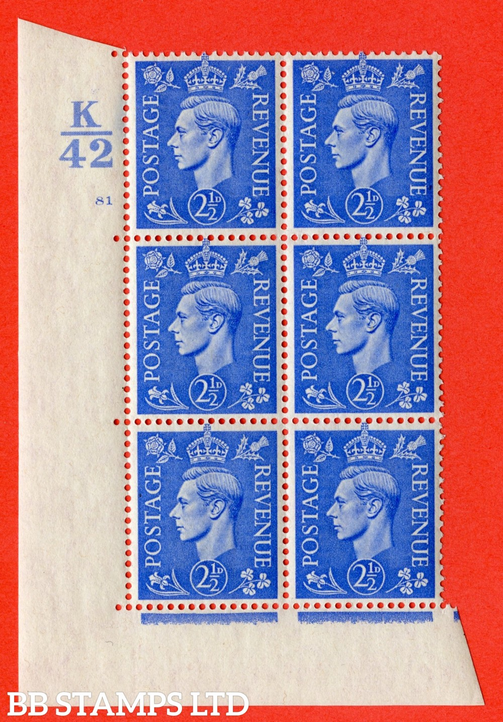 "SG. 489. Q14. 2½d Light ultramarine. A superb UNMOUNTED MINT "" Control K42 cylinder 81 no dot "" control block of 6 with perf type 5 E/I."