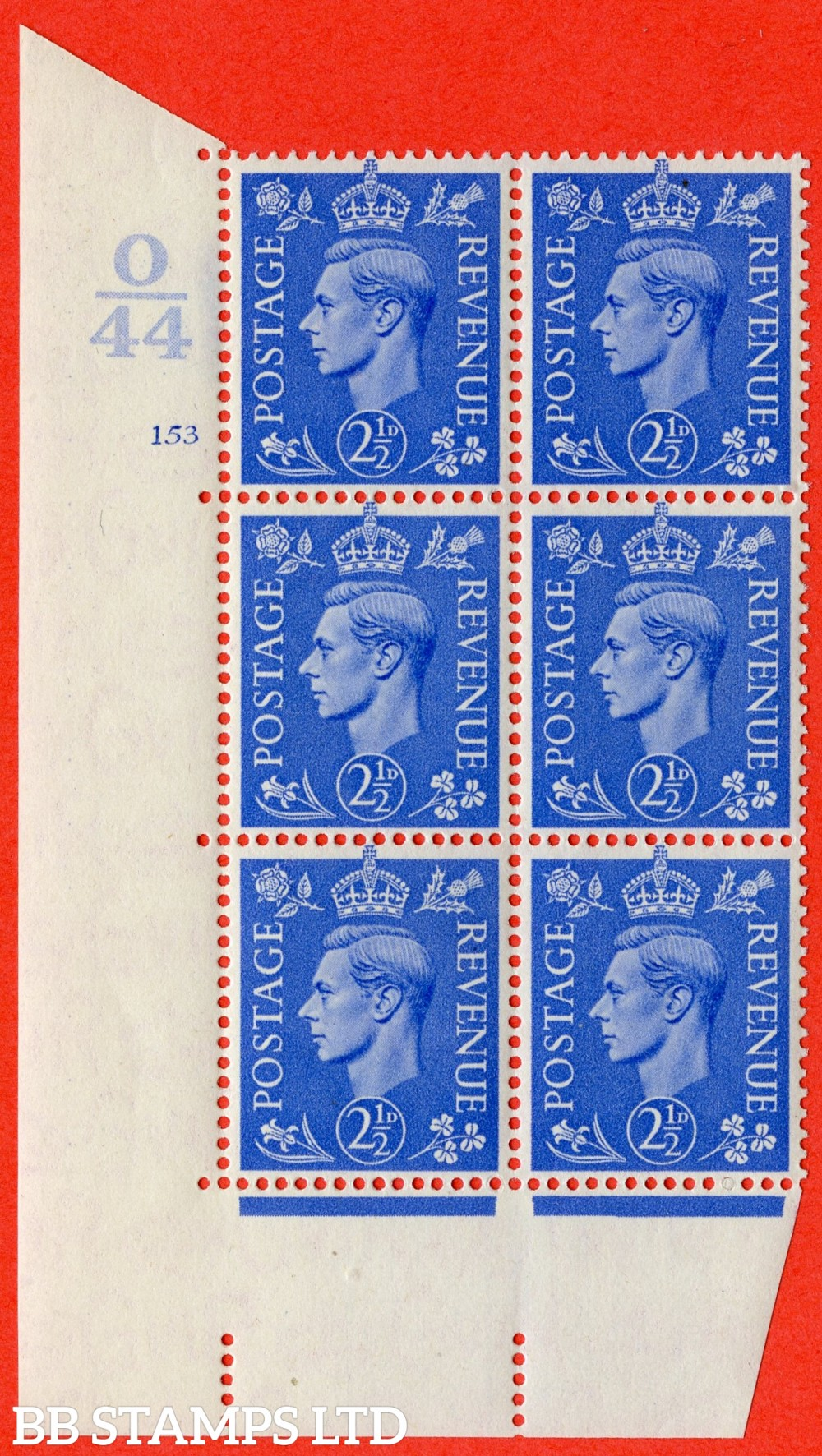"SG. 489. Q14. 2½d Light ultramarine. A fine lightly mounted mint "" Control O44 cylinder 153 no dot "" control block of 6 with perf type 5 E/I."
