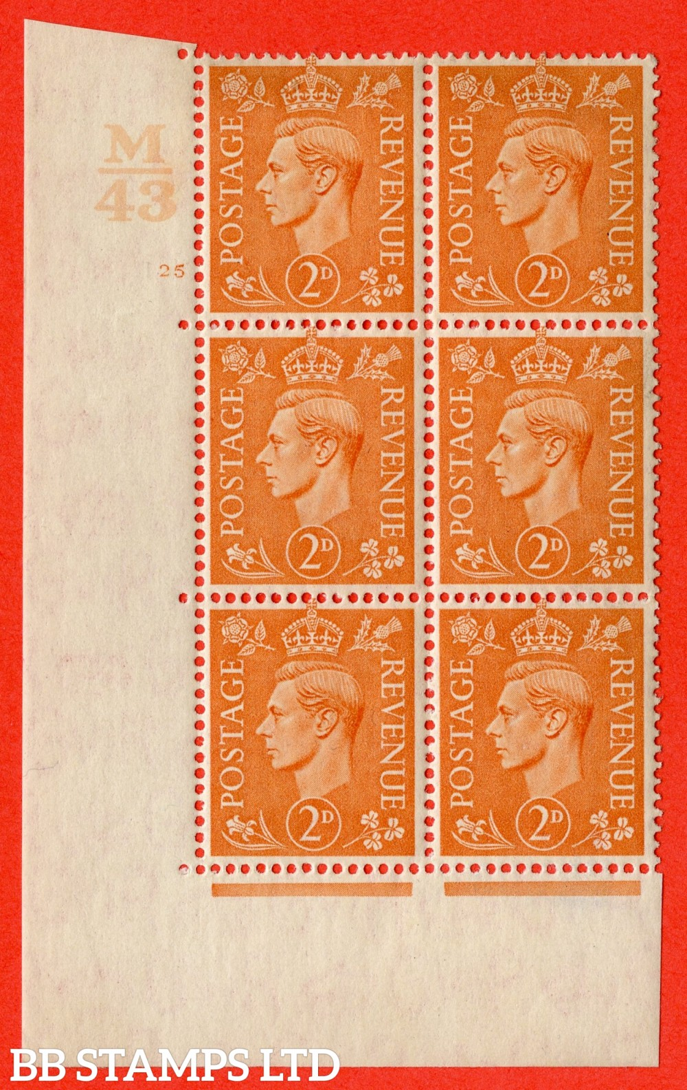 """SG. 488. Q11. 2d Pale Orange. A superb UNMOUNTED MINT """" Control M43 cylinder 25 no dot """" control block of 6 with perf type 5 E/I."""
