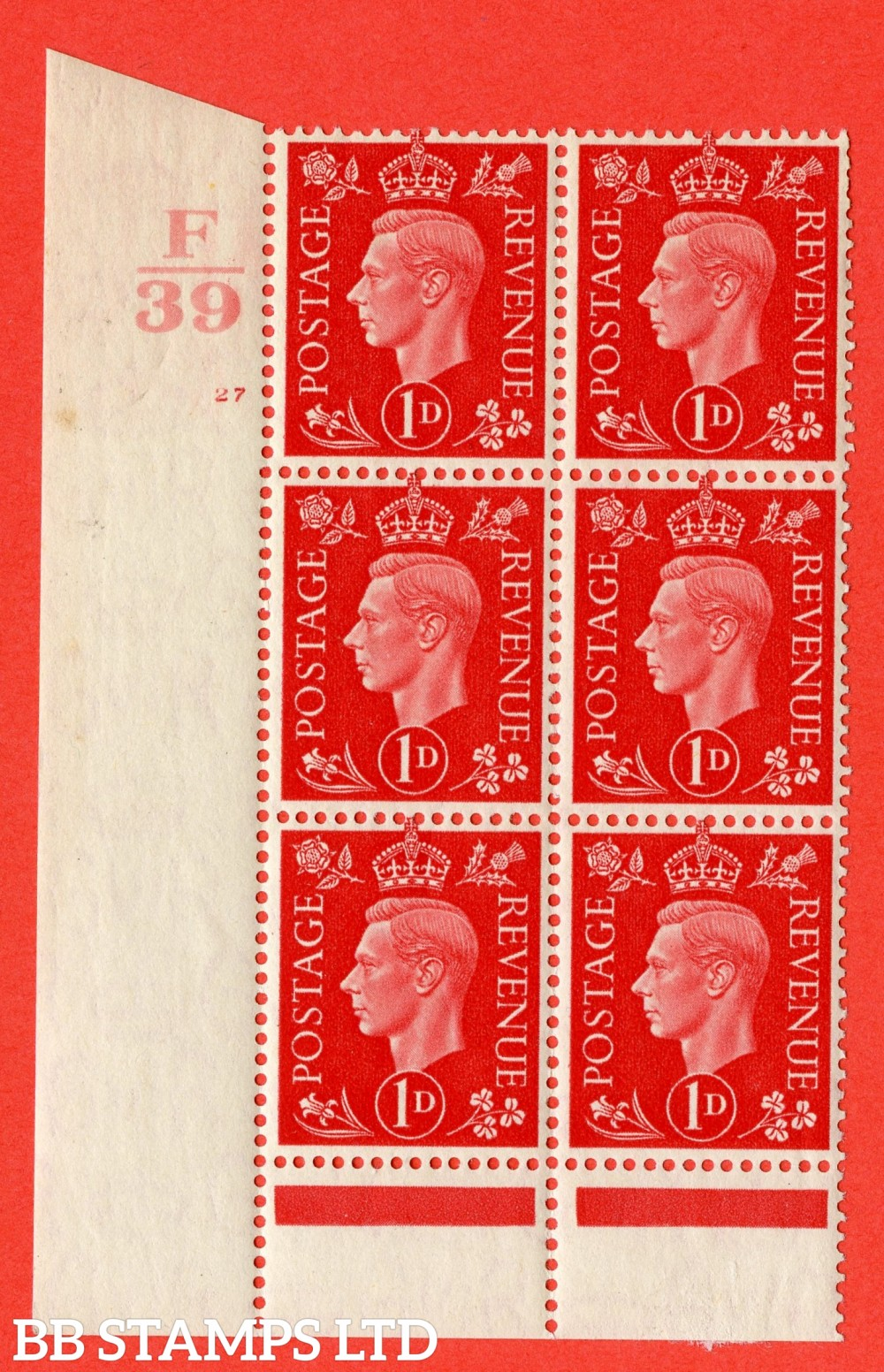 "SG. 463. Q4. 1d Scarlet. A superb UNMOUNTED MINT "" Control F39 cylinder 27 no dot "" block of 6 with perf type 6 I/P with marginal rule."