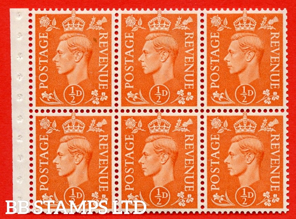 """SG. 503d. QB7. ½d orange. A fine MOUNTED MINT complete booklet pane of 6. Perf type """" I """". Good Perfs."""