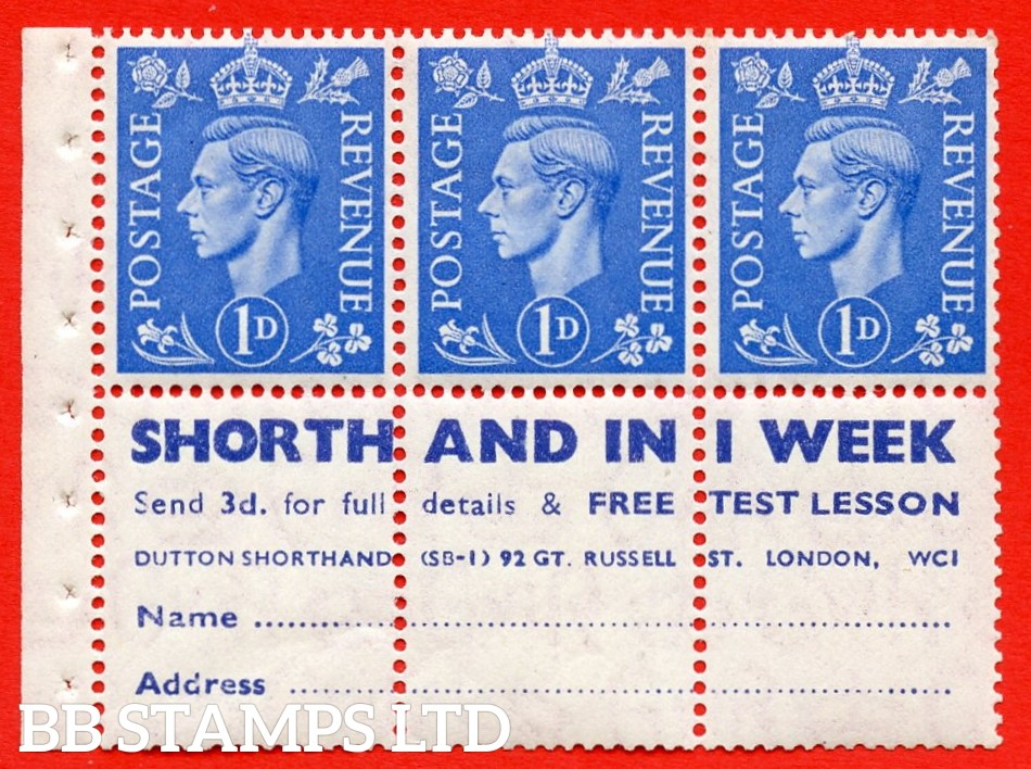 """SG. 504 d. QB20. 1d ultramarine. A fine UNMOUNTED MINT complete booklet pane with """" SHORTHAND IN 1 WEEK """". Perf type """" I """". Good Perfs."""