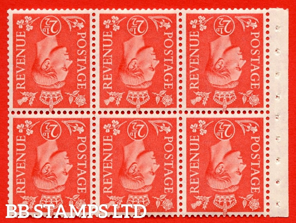 """SG. 507cw. QB34a. 2½d pale scarlet. A fine UNMOUNTED MINT Booklet pane of 6. Perf type """" Ieb """". Good Perfs."""