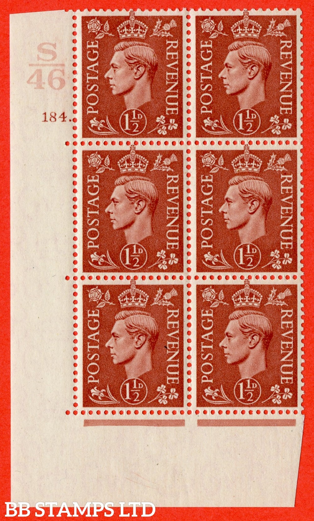 "SG. 487. Q8. 1½d Pale Red-Brown. A fine lightly mounted mint "" Control S46 cylinder 184 dot "" control block of 6 with perf type 5 E/I."