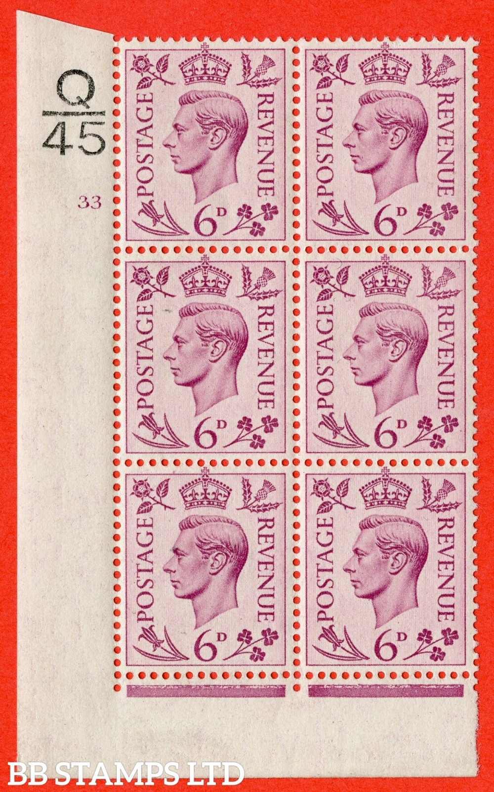 """SG. 470. Q22. 6d Purple. A superb UNMOUNTED MINT """" Control Q45 cylinder 33 no dot """" control block of 6 with perf type 2 E/I."""