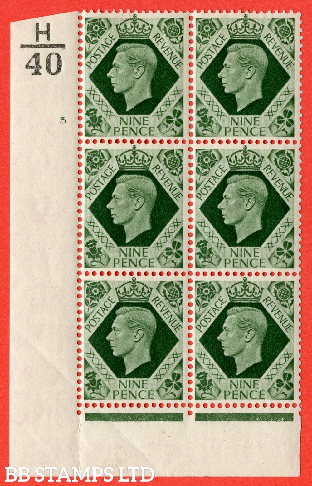 "SG. 473. Q25. b. 9d Olive-Green. A fine mounted mint "" Control H40 cylinder 3 no dot "" control block of 6 with perf type 2 I/E with listed variety "" Serif touched out but dot remains "" R18/1. Crease."