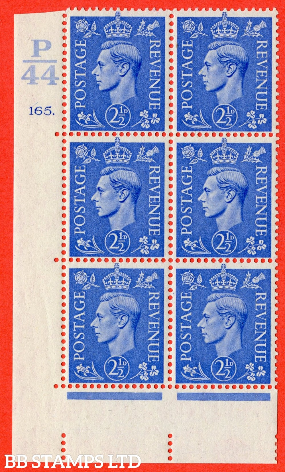 "SG. 489. Q14. 2½d Light ultramarine. A suberb UNMOUNTED MINT "" Control  P44 cylinder 165 dot "" control block of 6 with perf type 5 E/I."