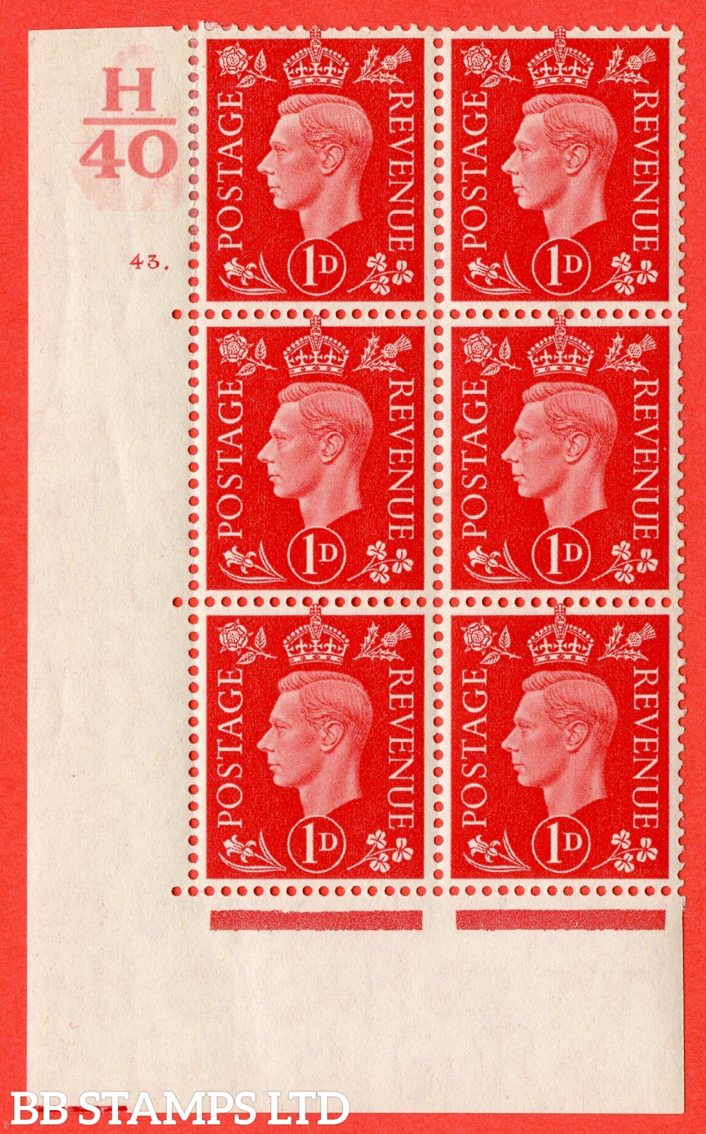 "SG. 463. Q4. 1d Scarlet. A superb UNMOUNTED MINT "" Control H40 cylinder 43 dot "" block of 6 with perf type 5 E/I."