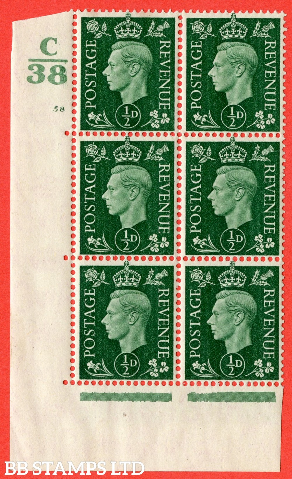 "SG. 462. Q1. ½d Green. A superb UNMOUNTED MINT "" Control C38 cylinder 58 no dot "" block of 6 with perf type 5 E/I."