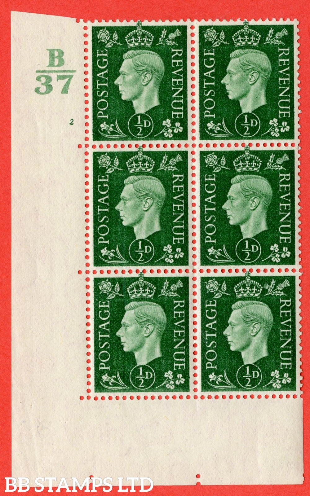 """SG. 462. Q1. ½d Green. A fine lightly mounted mint """" Control B37 cylinder 2 no dot """" block of 6 with perf type 5 E/I  without marginal rule."""