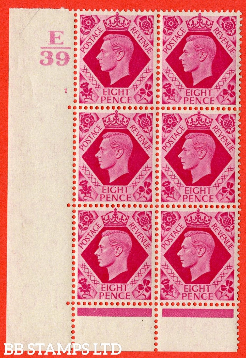 "SG. 472. Q24. 8d Carmine. A fine lightly mounted mint "" Control E39. Cylinder 1 no dot "" control block of 6 with perf type 6B E/P."