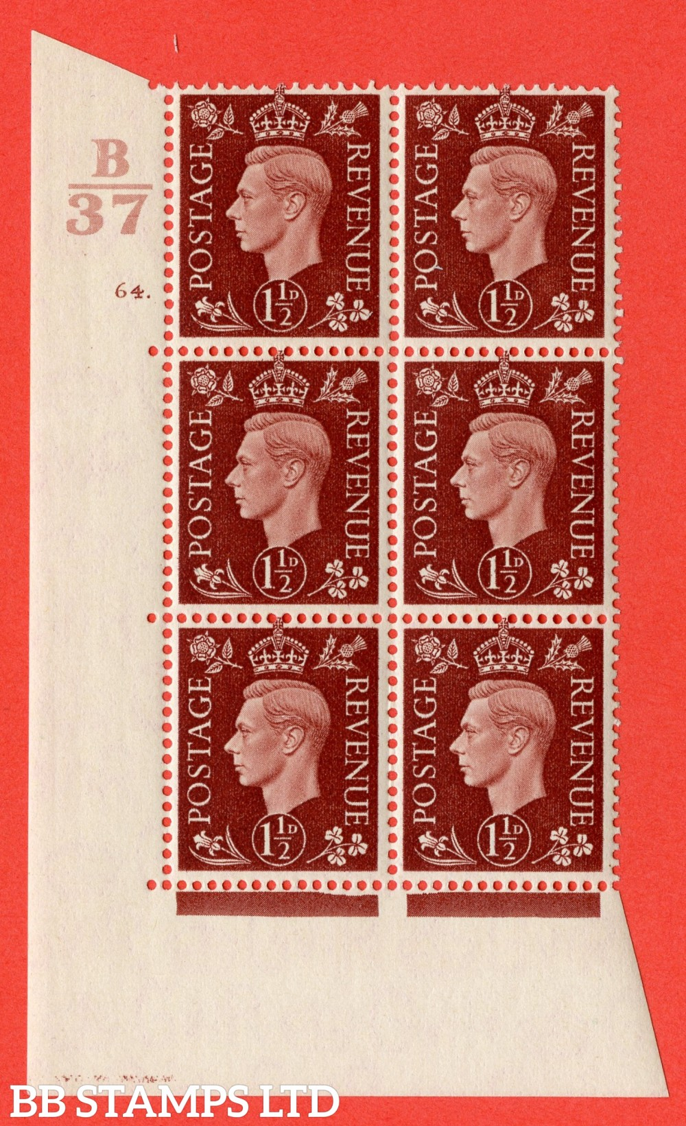 """SG. 464. Q7. 1½d Red-Brown. A fine lightly mounted mint """" Control B37 cylinder 64 dot """" block of 6 with perf type 5 E/I."""