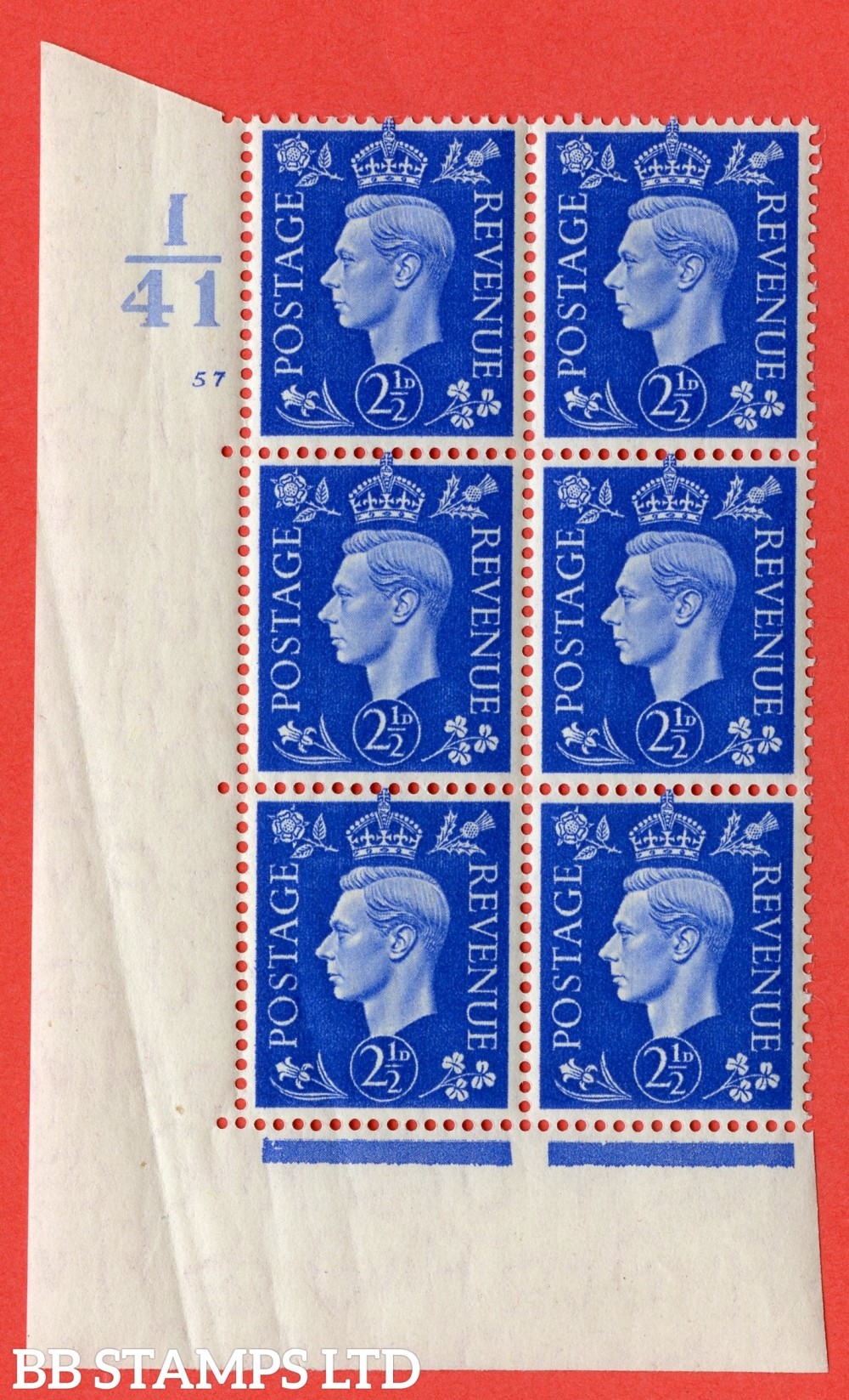 "SG. 466. Q13. 2½d Ultramarine. A superb UNMOUNTED MINT "" Control I41 cylinder 57 no dot "" control block of 6 with perf type 5 E/I."
