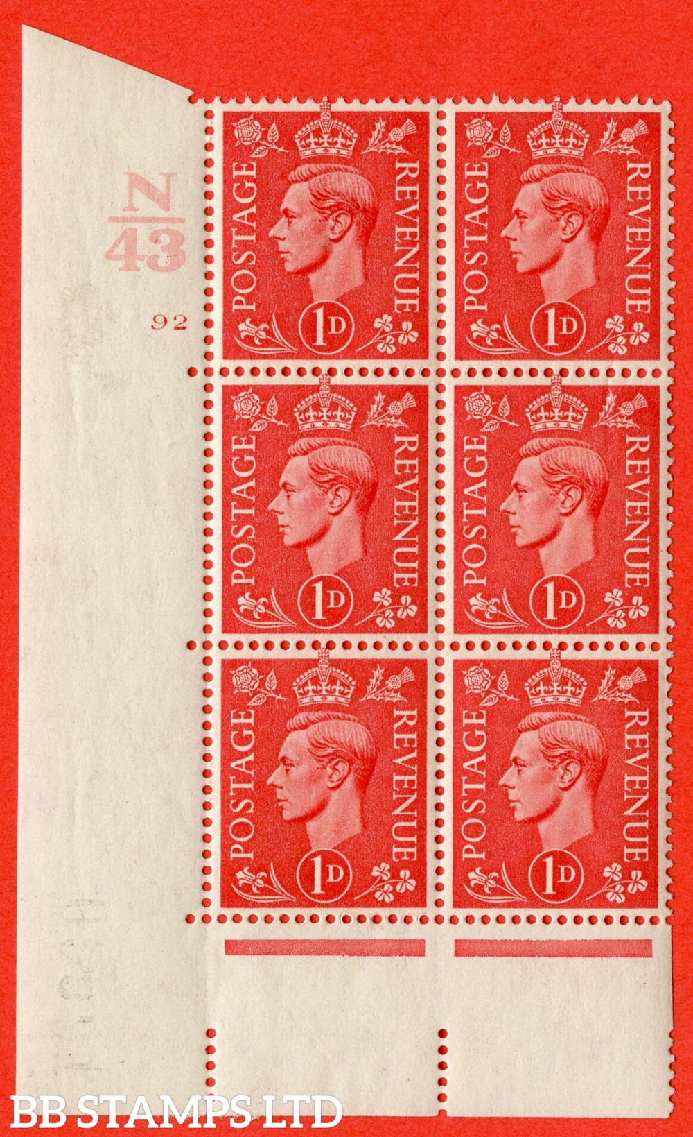 "SG. 486. Q5. 1d Pale scarlet. A fine lightly mounted mint "" Control N43  cylinder 92 no dot "" control block of 6 with perf type 5 E/I."