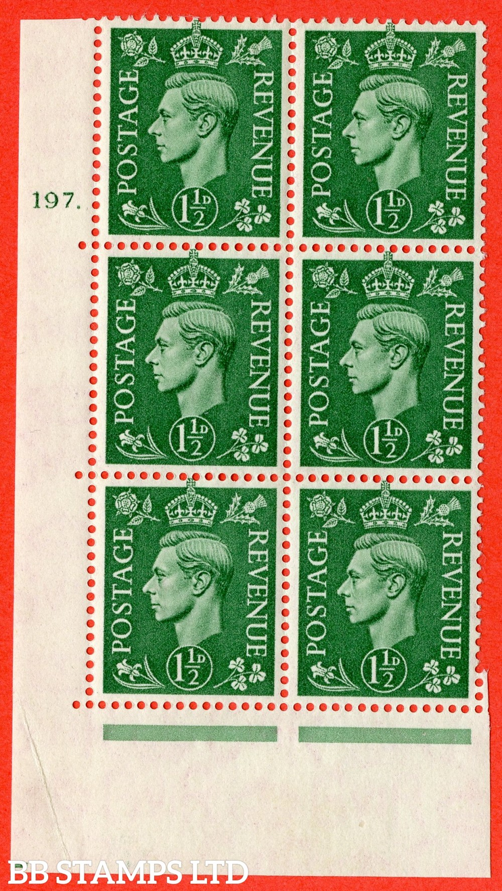 """SG. 505. Q9. 1½d Pale Green.  A fine lightly mounted mint """" No Control cylinder 197 dot """" control block of 6 with perf type 5 E/I."""