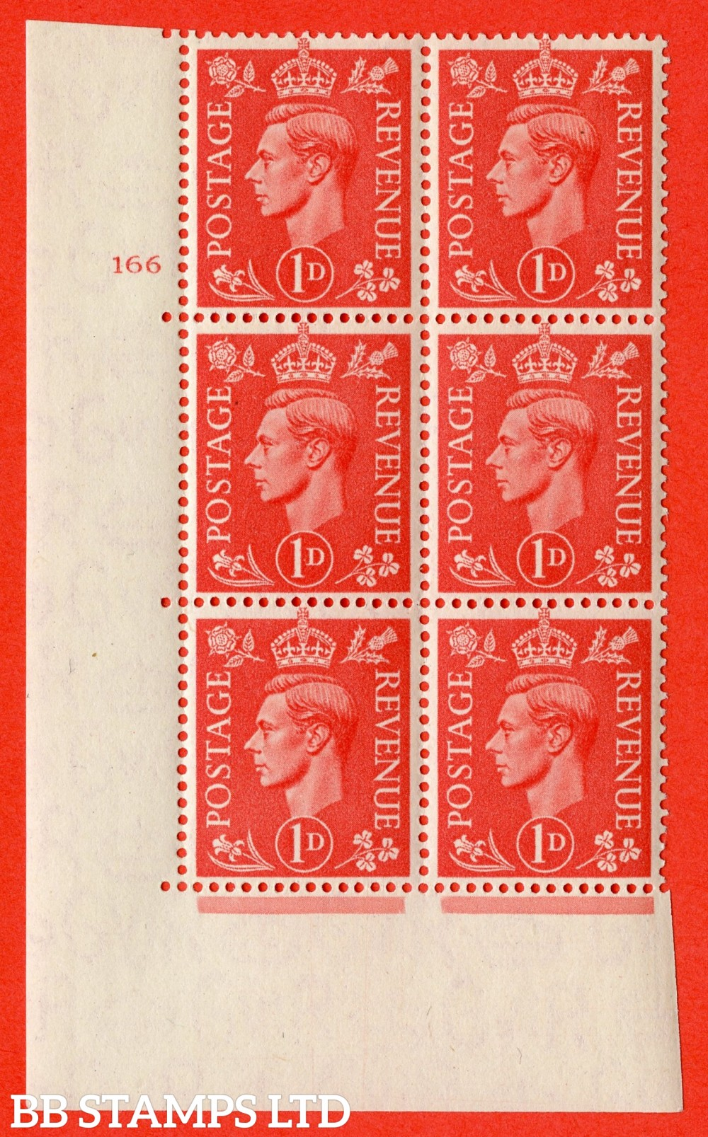 "SG. 486. Q5. 1d Pale scarlet. A superb UNMOUNTED MINT "" No Control   cylinder 166 no dot "" control block of 6 with perf type 5 E/I."