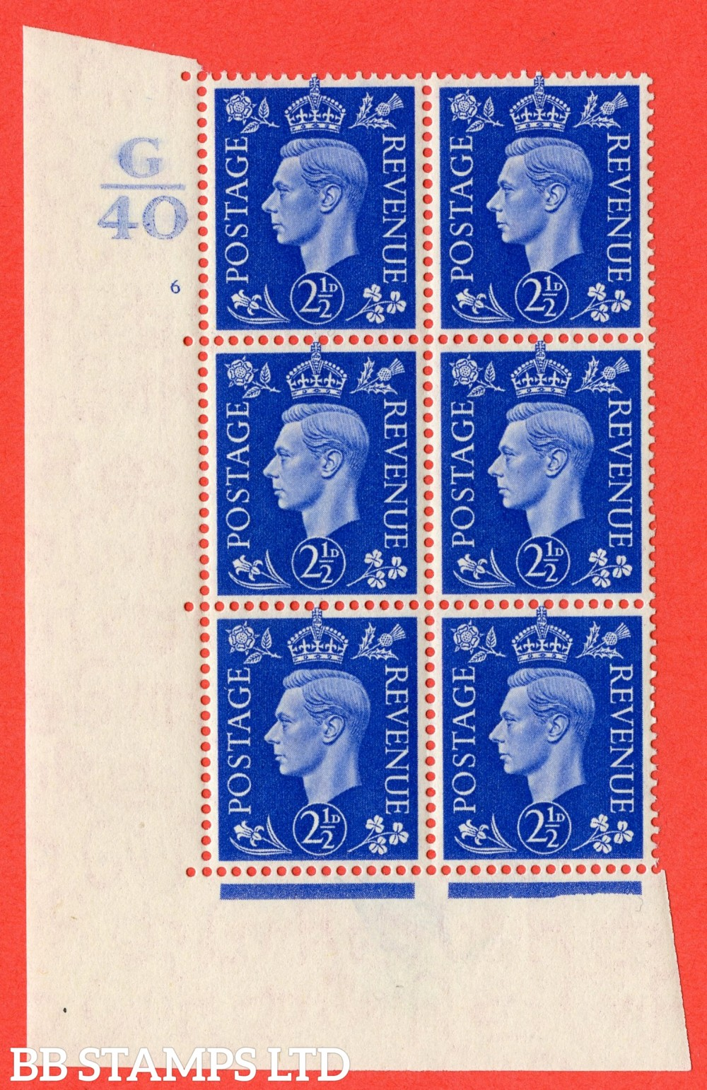 "SG. 466. Q13. 2½d Ultramarine. A superb UNMOUNTED MINT "" Control G40 cylinder 6 (ii) no dot "" control block of 6 with perf type 5 E/I."