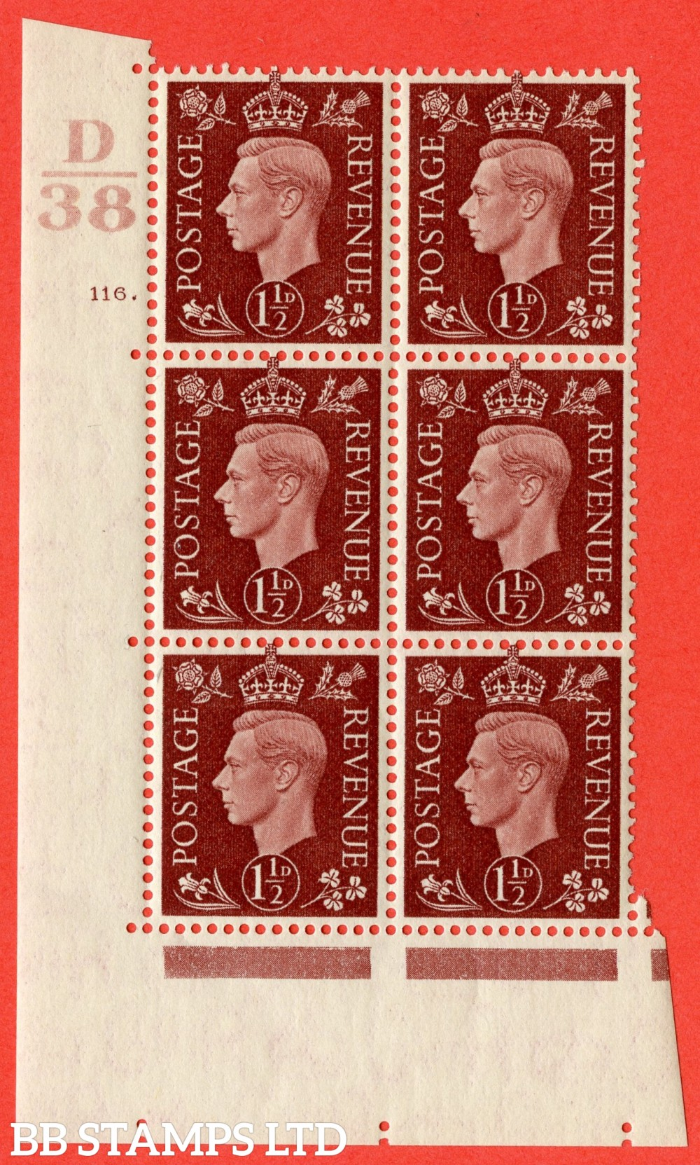 "SG. 464. Q7. 1½d Red-Brown. A superb UNMOUNTED MINT "" Control D38 cylinder 116 dot "" block of 6 with perf type 5 E/I."