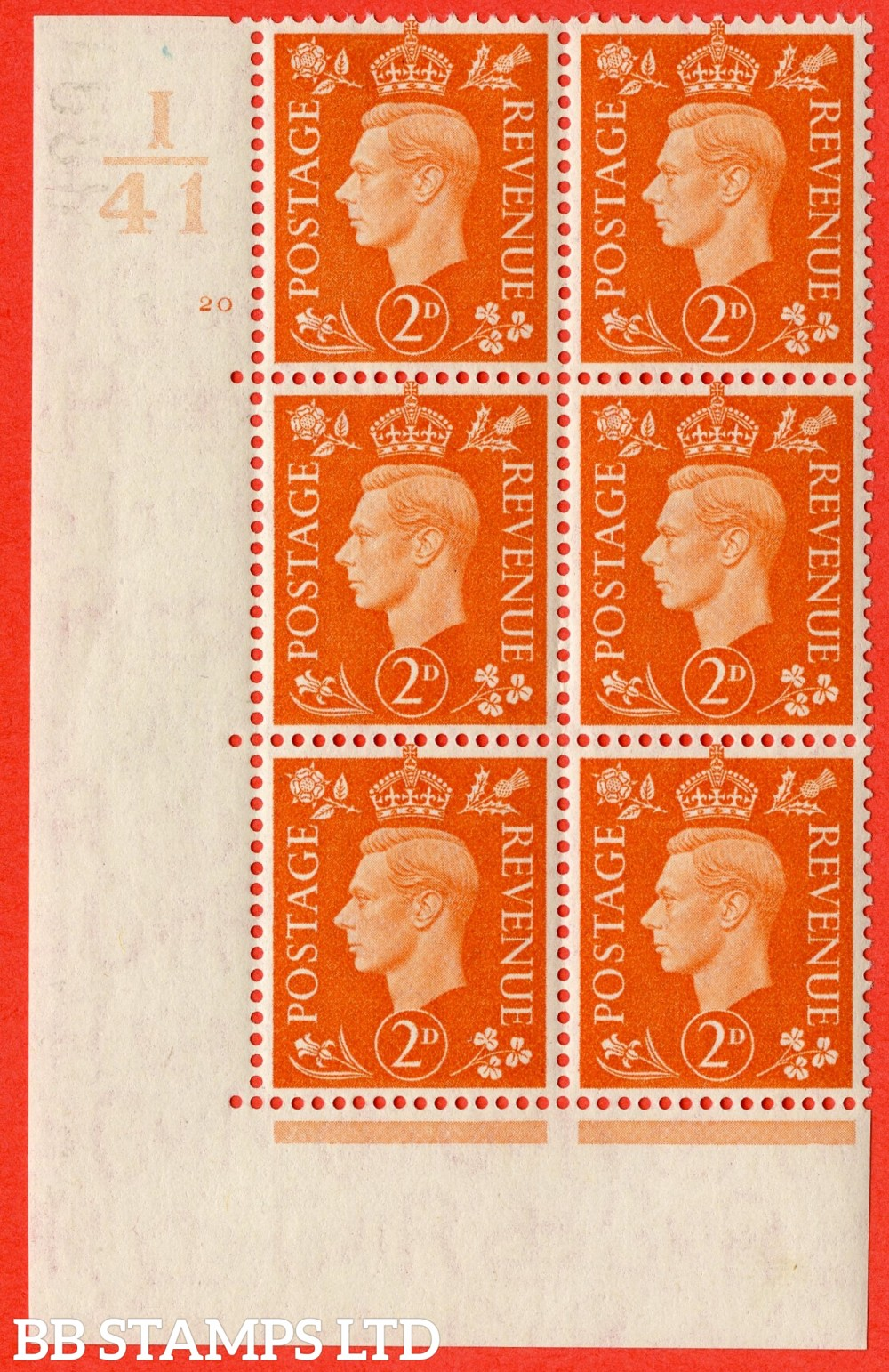 "SG. 465. Q10. 2d Orange. A fine lightly mounted mint "" Control I41 cylinder 20 no dot "" control block of 6 with perf type 5 E/I."