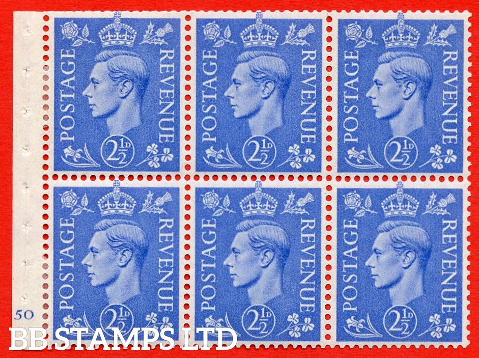 """SG. 489f. QB33. 2½d blue. A fine MOUNTED MINT complete Cylinder pane of 6 J50 No dot. Perf type """"B3(I)"""". Trimmed Perfs."""