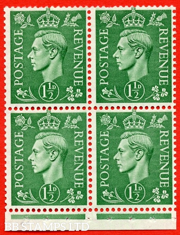 """SG. 505c. QB27a. 1½d pale green. A superb MOUNTED MINT complete booklet pane. Perf type """" I """". Good Perfs."""