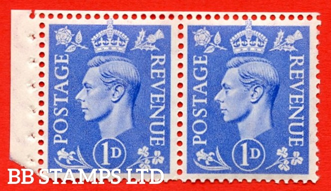 """SG. 504. QB17. 1d ultramarine. A fine UNMOUNTED MINT complete booklet pane of 2. Perf type """" E (½V) """". Arrow at the bottom. Good Perfs."""