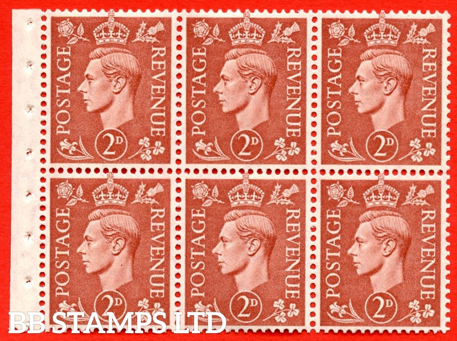"""SG. 506d. QB31. 2d pale red brown. A superb UNMOUNTED MINT complete booklet pane. Perf type """" Ieb """". Good Perfs."""
